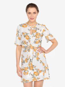 Krémové kvetované šaty s uzlom Miss Selfridge