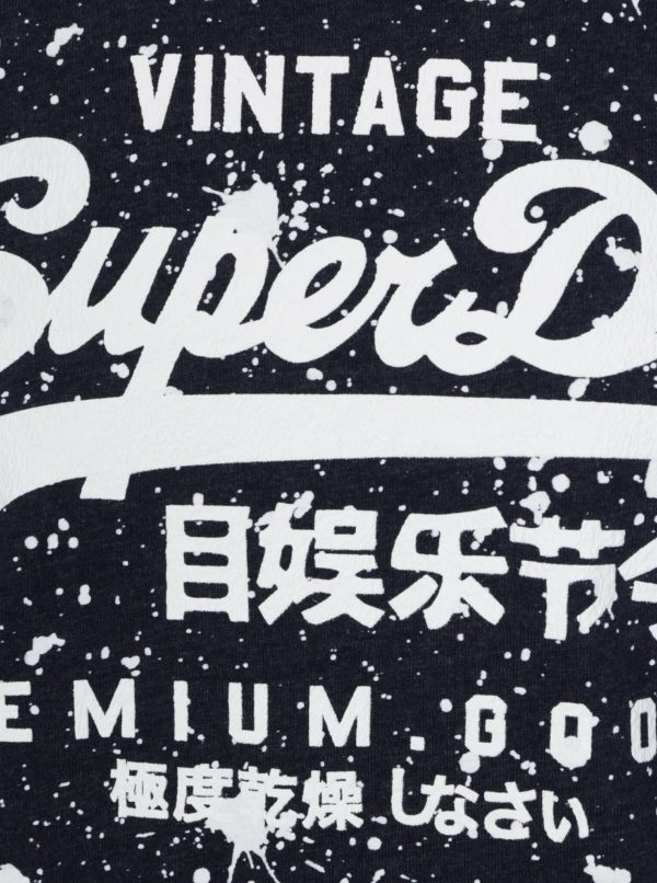 Tmavomodré pánske tričko s potlačou Superdry
