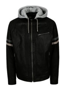 Čierna pánska kožená bunda s kapucňou KARA Eric B