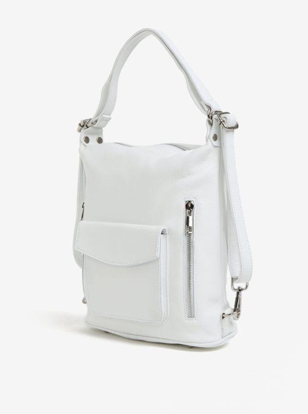 Biela dámska kožená kabelka s vreckami KARA