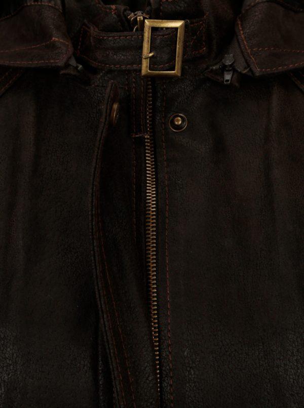 6f95479ce2 Tmavohnedá dámska kožená bunda kapucňou KARA Dominika B