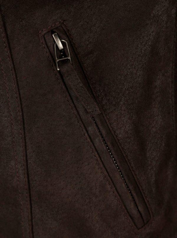8464e653c5 Tmavohnedá dámska kožená bunda s prackou KARA Diva