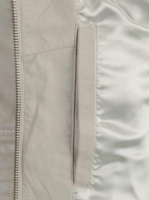 Krémová dámska kožená bunda s perforovanými detailmi KARA Zafira