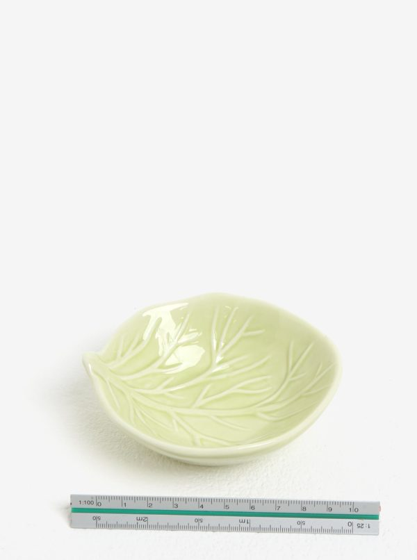 Zelená porcelánová miska v tvare listu Kaemingk
