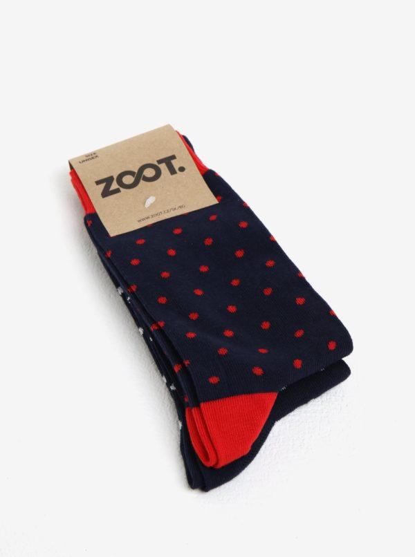 Súprava dvoch párov tmavomodrých pánskych bodkovaných ponožiek ZOOT