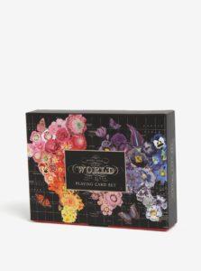 Čierna kvetovaná darčeková súprava s hracími kartami Galison
