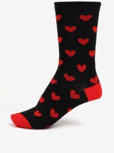 Čierne dámske ponožky s motívom sŕdc ZOOT