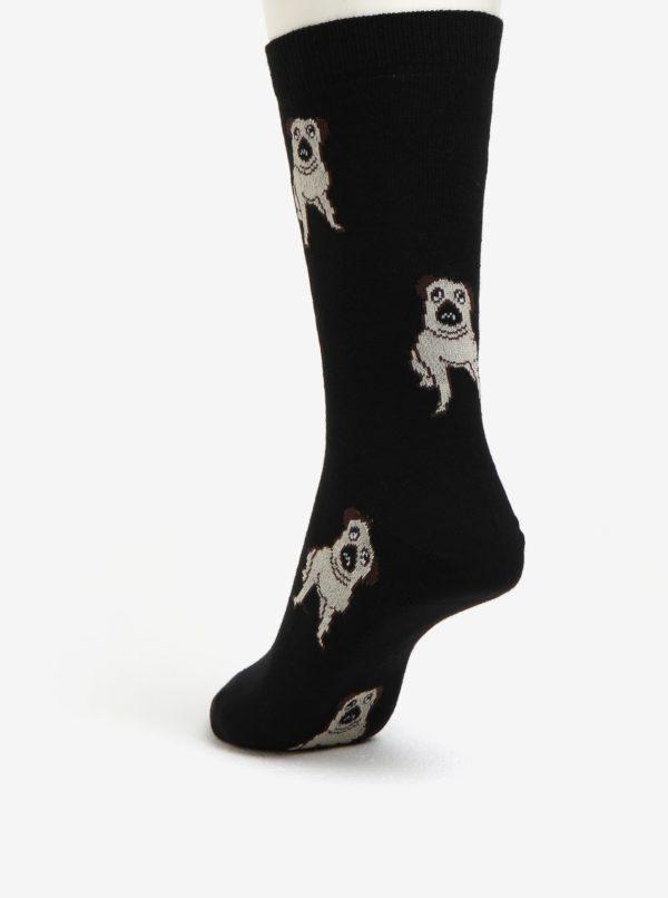 Čierne dámske ponožky s motívom mopslíkov ZOOT