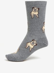 Sivé dámske ponožky s motívom mopslíkov ZOOT