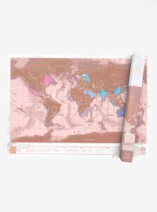 Nástenná stieracia mapa v ružovozlatej farbe Luckies