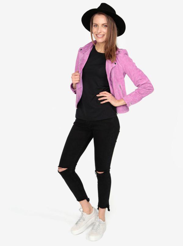Ružová semišová kožená bunda VERO MODA Best Royce  99ee88613a5