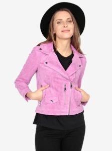 Ružová semišová kožená bunda VERO MODA Best Royce
