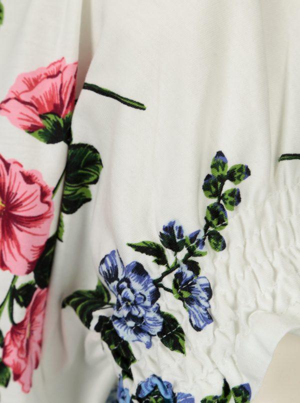 Biele kvetované tričko s riasením Dorothy Perkins
