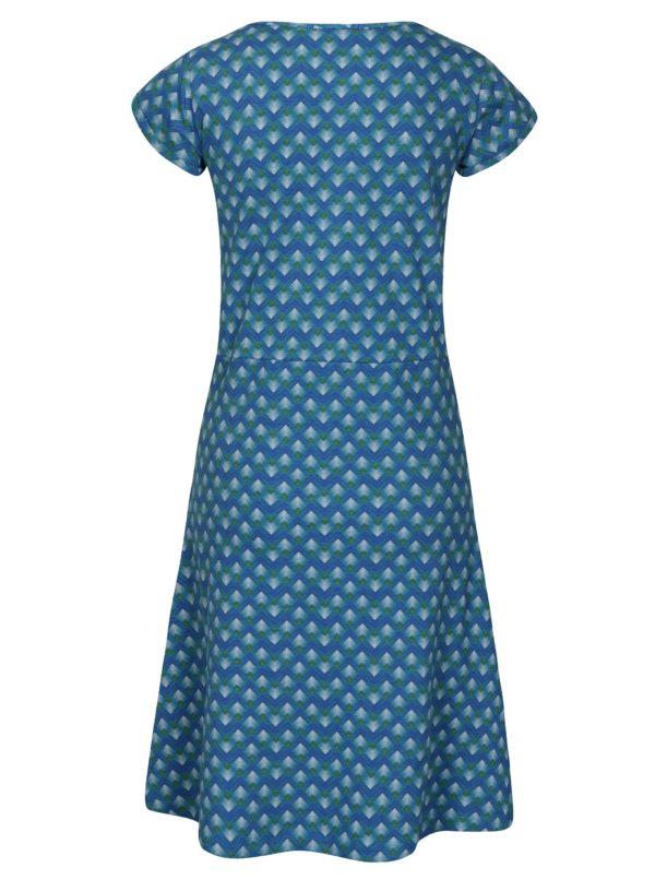 Tyrkysové vzorované šaty s véčkovým výstrihom Tranquillo Malva