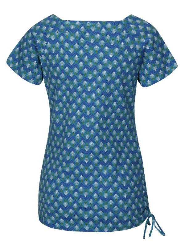 Tyrkysové vzorované tričko s hranatým výstrihom Tranquillo Encalypta