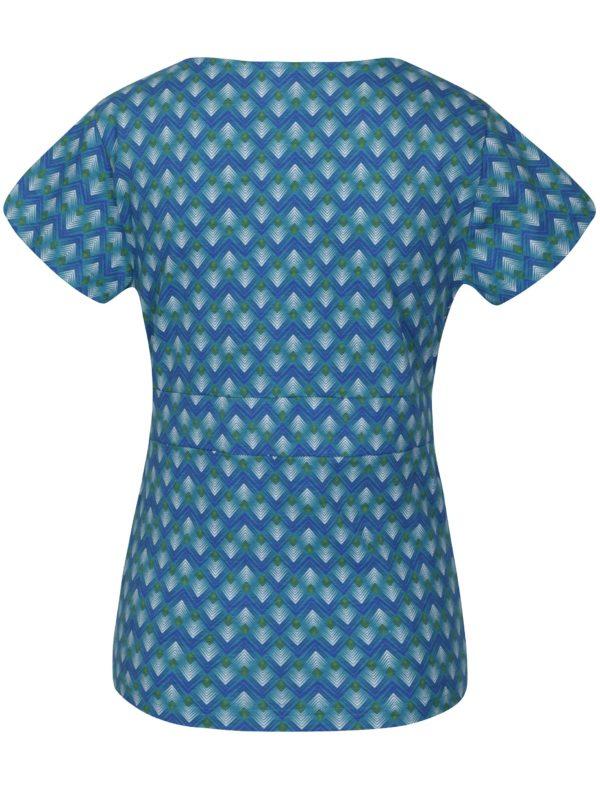 Tyrkysové vzorované tričko s prekladaným výstrihom Tranquillo Ammi