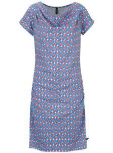 Modré vzorované šaty s nazberkaním v dekolte Tranquillo Petraea