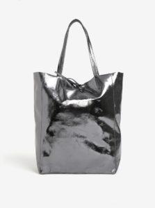 Tmavosivý metalický kožený shopper ZOOT Laminato