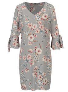 Sivé kvetované šaty so zvonovými rukávmi Dorothy Perkins Petite