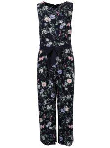 Tmavomodrý kvetovaný overal s opaskom Dorothy Perkins Petite