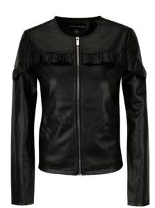 Čierna koženková bunda s volánmi Dorothy Perkins