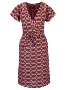 Vínové vzorované šaty s prekladaným výstrihom Tranquillo Catalpa