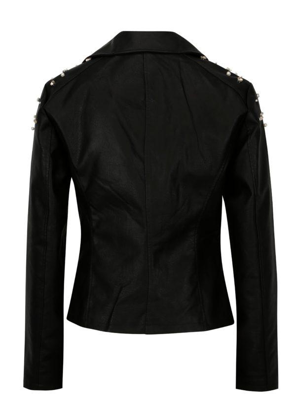 Čierna koženková bunda s aplikáciou na ramenách Noisy May Cora