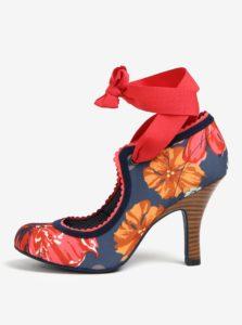 Modré kvetované lodičky na zaväzovanie Ruby Shoo Willow