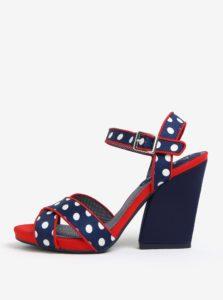 Tmavomodré bodkované sandále na širokom podpätku Ruby Shoo Evie