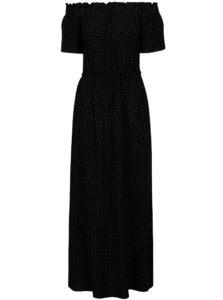 Čierne bodkované maxišaty s odhalenými ramenami Dorothy Perkins