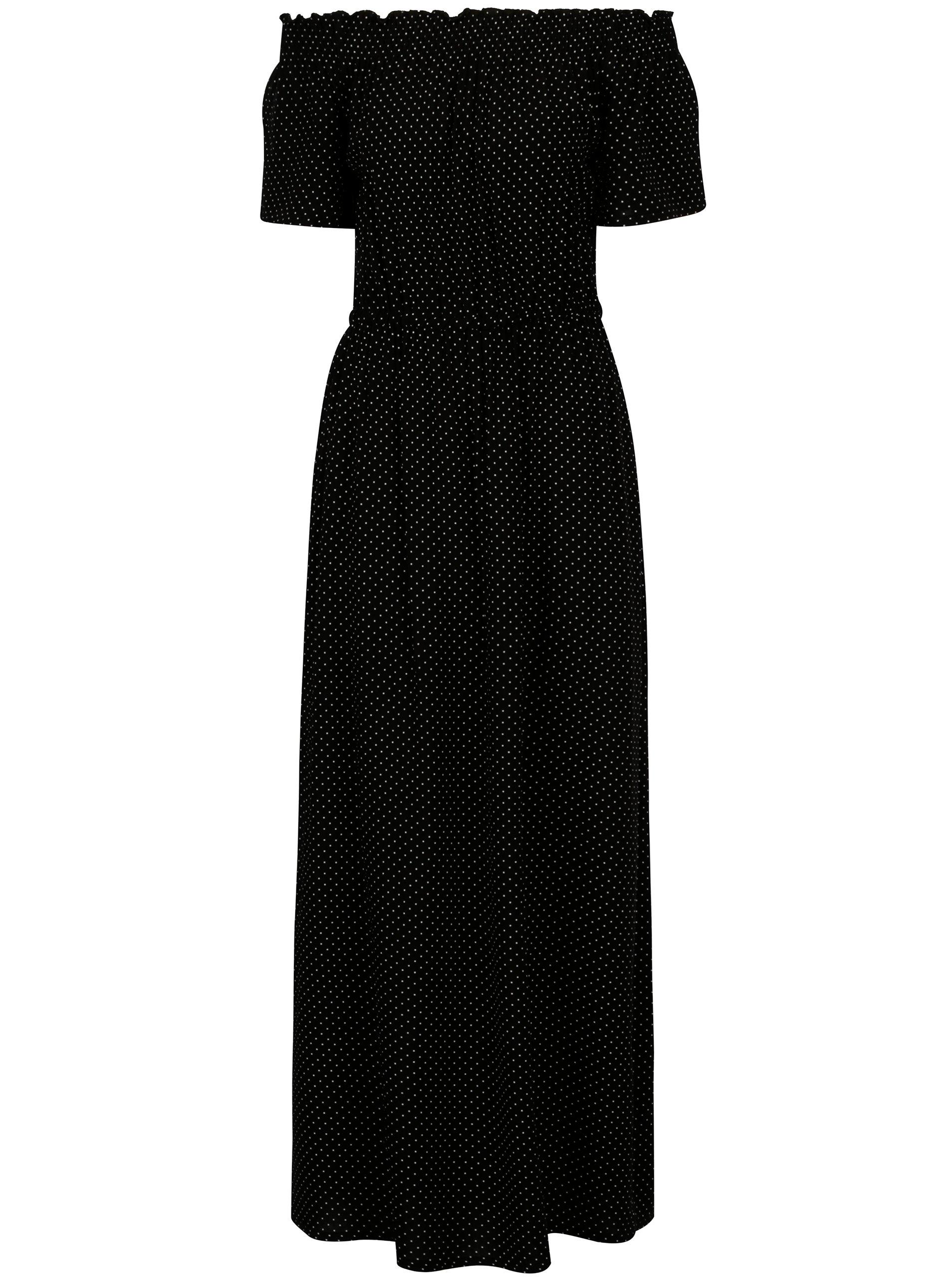 bf433b0f4d03 Čierne bodkované maxišaty s odhalenými ramenami Dorothy Perkins ...