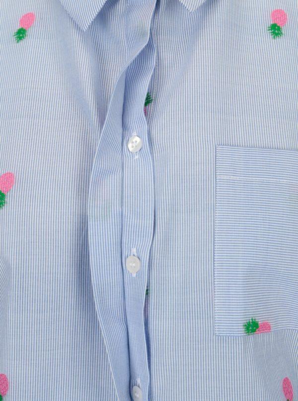 Svetlomodrá pruhovaná košeľa s výšivkami Rich & Royal