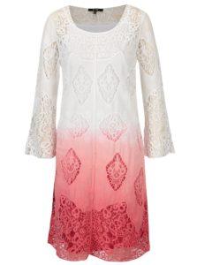 Ružovo-biele čipkové šaty 2v1 s 3/4 rukávom YEST