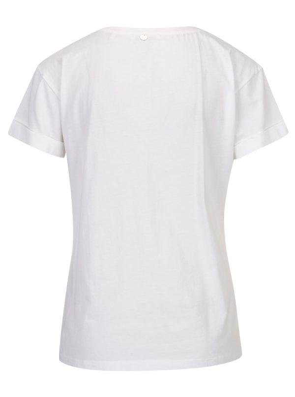Biele tričko s výšivkou plameniaka Rich & Royal