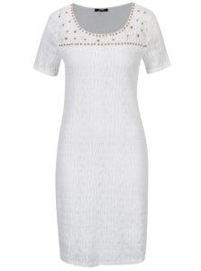 Biele čipkové šaty s aplikáciou korálikov YEST
