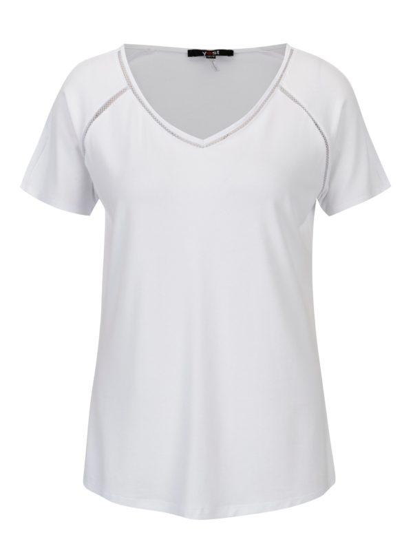 Biele tričko s čipkovými detailmi YEST