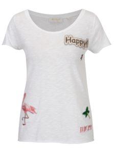 Biele tričko s nášivkami Rich & Royal