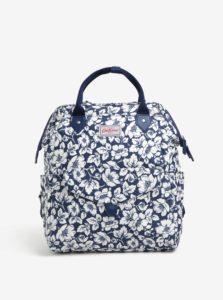 Krémovo–modrý dámsky kvetovaný batoh Cath Kidston