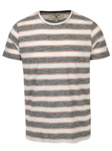 Krémovo-čierne pánske pruhované tričko Garcia Jeans Heren
