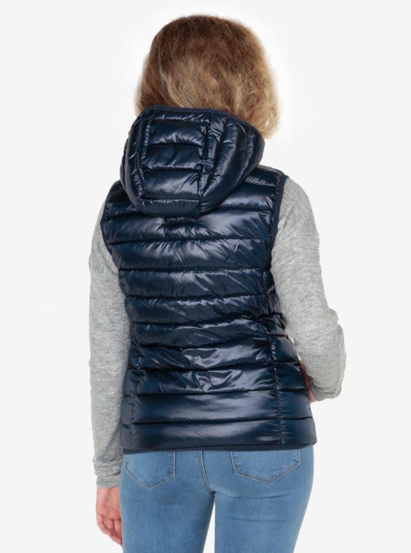 Tmavomodrá dámska prešívaná vesta s kapucňou s.Oliver