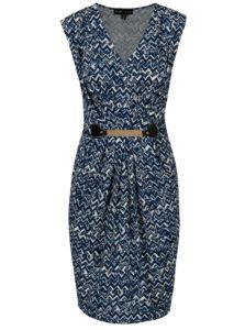 Bielo-modré vzorované šaty s kovovou aplikáciou Mela London