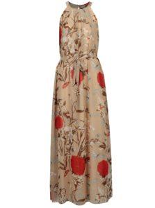 Béžové kvetované maxišaty s opaskom Mela London