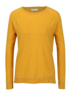Horčicový tenký sveter s predĺženým zadným dielom Yerse