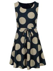 Zlato-modré šaty s bodkami a opaskom Mela London