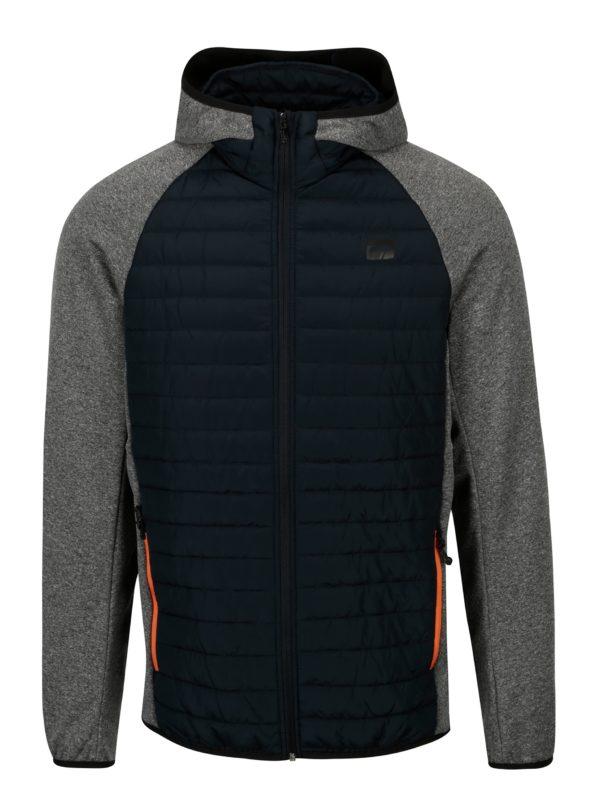 Sivá prešívaná bunda s kapucňou Jack & Jones Multi Quilted