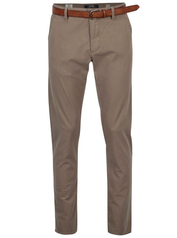 Béžové pánske slim fit chino nohavice s opaskom s.Oliver
