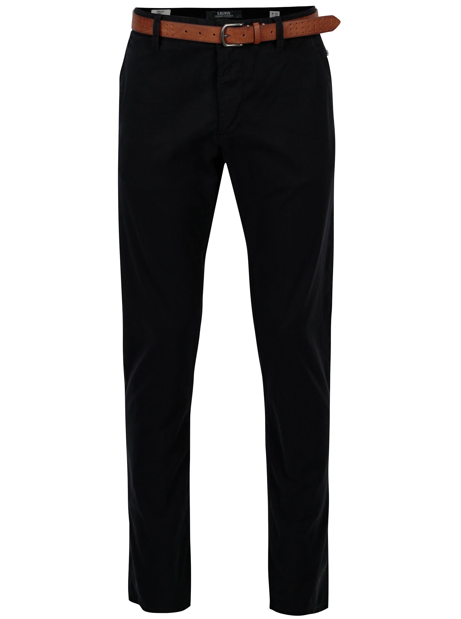 1c33edb0c Tmavomodré pánske slim fit chino nohavice s opaskom s.Oliver | Moda.sk