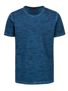 Tmavomodré pánske vzorované slim fit tričko s.Oliver