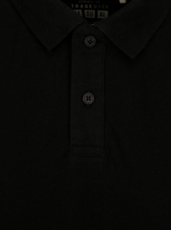 Čierna pánska regular fit polokošeľa s výšivkou loga s.Oliver