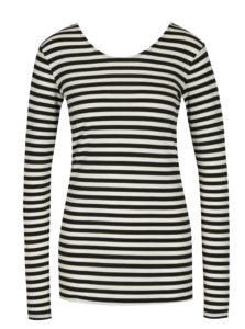 Krémovo-čierne dámske pruhované tričko s dlhým rukávom Gracia Jeans